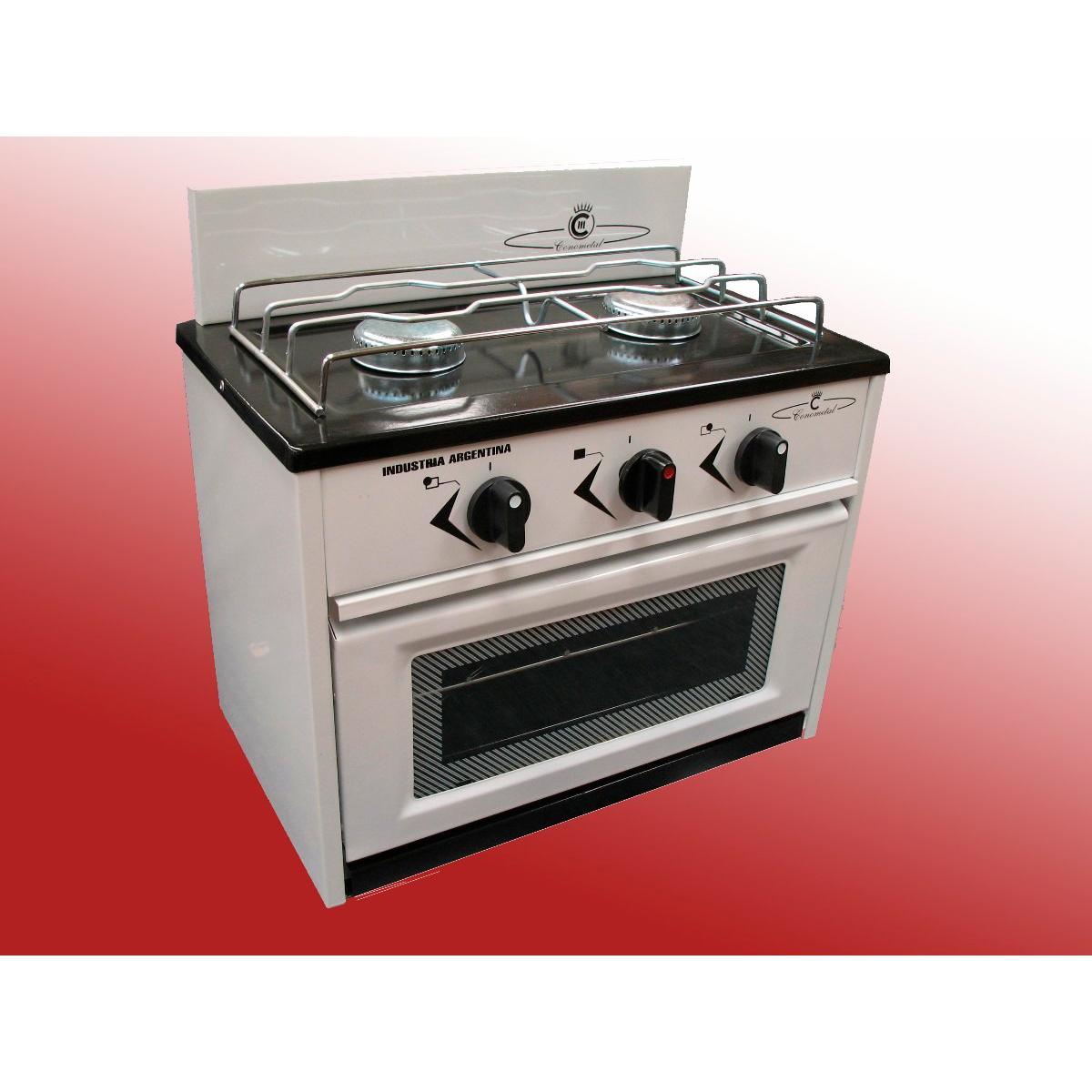 Cocina 2 hornallas con horno frente vidrio conometal for Hornos de cocina